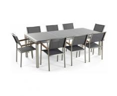 Gartenmöbel Set Granit grau poliert 220 x 100 cm 8-Sitzer Stühle Textilbespannung grau GROSSETO