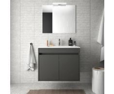 Badezimmer Badmöbel 70 cm aus mattgrauem Holz mi zwei Türen | Mit Doppelsäule, Spiegel und Led-Lampe