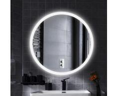 LED Anti-Fog Rund Badspiegel Wandspiegel Mattierter Gürtel kühles Weiß 70*70cm