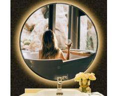 LED Badspiegel Rund Wandspiegel Badezimmerspiegel Anti-Fog 70x70cm (Warmweiß)