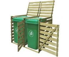Mülltonnenbox 2 Tonnen Imprägniertes Holz 240 L VD26895 - Hommoo