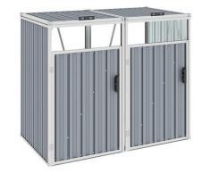 YOUTHUP Mülltonnenbox für 2 Mülltonnen Grau 143×81×121 cm Stahl