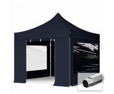 Faltzelt PROFESSIONAL 3x3 m mit Panoramafenster Faltpavillon ALU Pavillon Partyzelt in schwarz