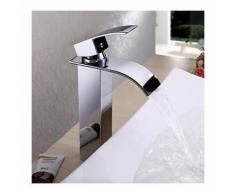 Waschtisch-Armatur aus Messing, Wasserfallstrahl und modernes Design (erhöht)