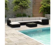 8-tlg. Garten-Lounge-Set mit Auflagen Poly Rattan Schwarz - Youthup