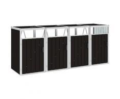 Youthup - Mülltonnenbox für 4 Mülltonnen Braun 286×81×121 cm Stahl