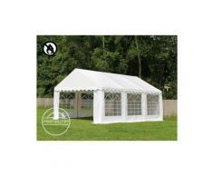 Party-Zelt Festzelt 4x6 m feuersicher Garten-Pavillon -Zelt ca. 500g/m² PVC Plane in grau-weiß
