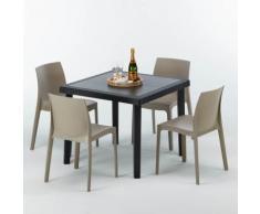 Polyrattan Tisch quadratische mit 4 bunten Stühlen 90x90 Schwarz BLACK PASSION   Rome Beige Jute