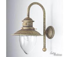 Außenwandleuchte Messing Glas in Bronze Antik Amalfi