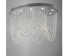 09-diyas - Deckenleuchte Camilla oval 12 Glühbirnen poliert Chrom / Kristall