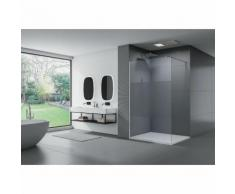 Duschabtrennung Walk-In Nano Echtglas EX101 - Milchglas-Streifen - Breite wählbar 1400mm