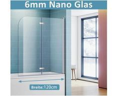 Badewannenaufsatz mit 6mm NANO ESG Glas Badewannenfaltwand Duschwand H140xB120cm - Sonni