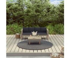 2-tlg. Garten-Lounge-Set mit Auflagen Poly Rattan Beige