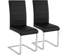 2 Schwingstühle, Kunstleder - Esszimmerstühle, Küchenstühle, Schwingstuhl - negro