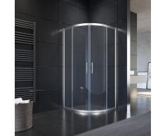 Duschkabine Viertelkreis 90x90cm ohne Duschtasse Runddusche Schiebetür, NANO Glas, Höhe 195cm