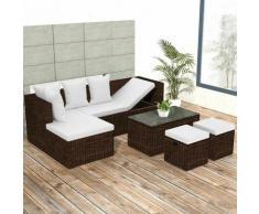 Zqyrlar - 4-tlg. Garten-Lounge-Set mit Auflagen Poly Rattan Braun