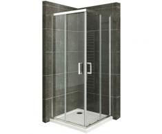 Duschkabine mit Schiebetüren Eckdusche mit Rollensystem aus ESG Glas 190cm Hoch 80x90