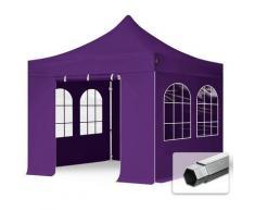 Faltzelt PROFESSIONAL 3x3 m mit Fenstern Faltpavillon ALU Pavillon Partyzelt in lila PROFIZELT24