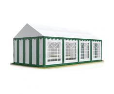 TOOLPORT Party-Zelt Festzelt 4x8 m Garten-Pavillon -Zelt ca. 500g/m² PVC Plane in grün-weiß