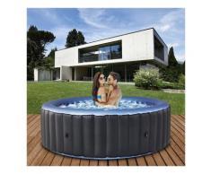 6 Personen Whirlpool aufblasbar BERGEN Outdoor Garten Massage Pool NEU 2021 (Anthrazit/Blau) - Mspa
