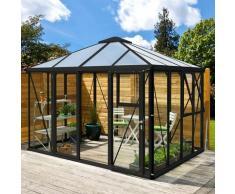 Gewächshaus-Pavillon 'Minos' schwarz 3 mm ESG, 10 mm HKP - Vitavia