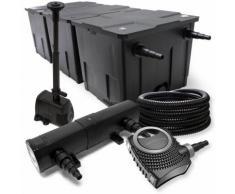 Filter Set aus Bio Teichfilter bis 90000l, UVC Klärer mit 24W, 80W Pumpe und Springbrunnenpumpe