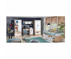 Kinderzimmer Komplett - Set B Fabian, 5-teilig, Farbe: Eiche Hellbraun / Weiß / Grau