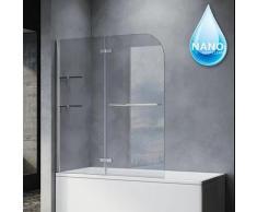 Badewannenaufsatz 2-teilig Glas Faltwand schwenkbar Badewannenabtrennung 120cm - Sonni
