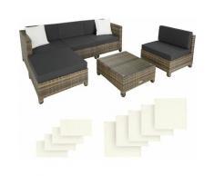 Rattan Lounge mit Aluminiumgestell inkl. Bezüge in 2 Farben, Variante 2 - Loungemöbel, Gartenmöbel,