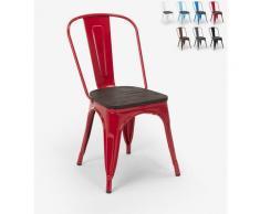 Tolix Industriestahl Holzstühle für Küche und Bar Steel Wood | Rot