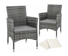 2 Rattansessel inkl. 4 Sitzbezüge - Rattanstühle, Gartensessel, Gartenstühle - grau