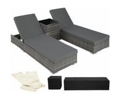 Tectake - 2 Sonnenliegen Rattan mit Aluminiumgestell und Tisch inkl. Schutzhülle - Gartenliege,
