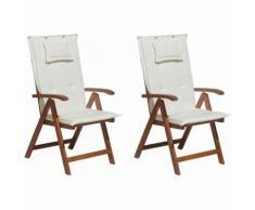 Beliani - Gartenstuhl mit Auflagen 4-teilig Cremeweiß Polsterbezug Dunkelbraun Akazienholz