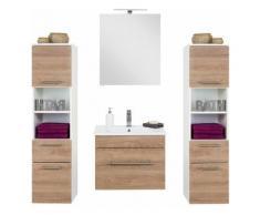 Badmöbelset mit 60cm Keramik-Waschtisch & LED-Spiegelschrank LAGOS-02 Eiche hell, weiß B x H x T