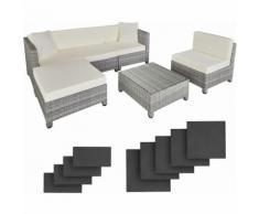 Rattan Lounge mit Aluminiumgestell inkl. Bezüge in 2 Farben - Loungemöbel, Gartenmöbel,