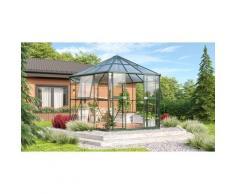 Gewächshaus-Pavillon 'Juno 9000' inkl. Stahlfundament smaragd grün 9,9 m² 3 mm ESG, 6 mm HKP