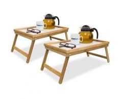 2x Betttablett Bambus, Tabletttisch mit Füßen, Sofatisch mit klappbaren Beinen, H x B x T: ca. 23,5