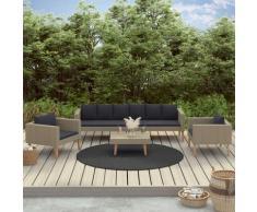 4-tlg. Garten-Lounge-Set mit Auflagen Poly Rattan Beige