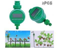 Bearsu - 2 Stück elektrische automatische Sprinkler-Timer mit Digitalanzeige für Rasengarten (2