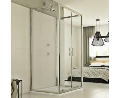 Cristal Trio 2 Türen 3-seitige Duschkabine 75x90x75 CM H198 ESG-Klarglas
