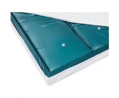 Wasserbettmatratze Blau Vinyl 160 x 200 cm Dual System Leicht beruhigt Mittelfest zwei Wasserkerne