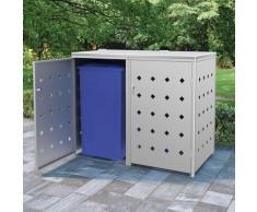 YOUTHUP Mülltonnenbox für 2 Tonnen 240 L Edelstahl