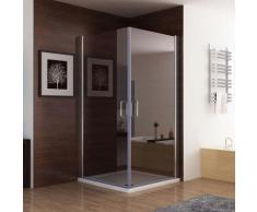 Duschkabine Dusche Duschwand 180° Schwingtür Eckeinstieg NANO Glas 100 x 90 x 195cm