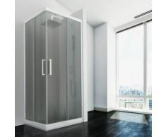 Duschkabine in PVC 90x70 CM H190 Satiniert Chinchilla mod. Lite weißes Profil