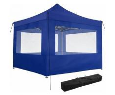 Faltbarer Garten Pavillon 3x3m mit 4 Seitenteilen - Partyzelt, Anbaupavillon, Festzelt - blau