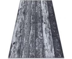Antirutsch Teppich Teppichboden WOOD Holz Tafel grau Grau und Silbertönen 200x550 cm