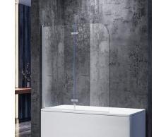Badewannenaufsatz Glas 140(H)x120(B)cm Duschwand 6mm NANO ESG Glas,180° Drehbar,Hebe-/ Senkfunktion