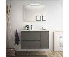 Badezimmer Badmöbel 85 cm aus mattgrauem Holz mit Porzellan Waschtisch | mit spiegel und LED Lampe