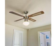 Qazqa - Industrieller Deckenventilator mit Lampe 100 cm Holz - Wind