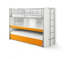 Etagenbett Eva 3er Bett mit ausziehbarer Schreibplatte + Bettkasten + Lattenrostplatten weiß orange